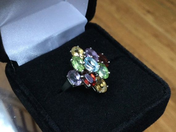 Multi gemstone ring, sterling cluster gemstone lad