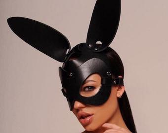 Party mask Bunny ears Leather bdsm mask Petplay mask Leather bunny mask White leather rabbit mask Halloween mask Leather fetish mask