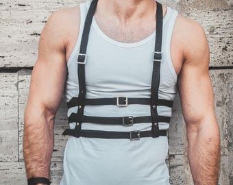 men's Harness,harness with buckles,leather body harness, Leather fetish, body belts, belt