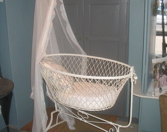 Early 20th Century French Iron Crib / Cot / Cradle