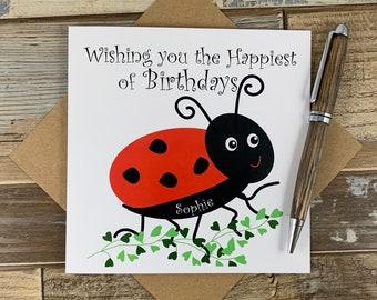 Ladybird Tarjeta De Cumpleaños Cualquier Nombre Cualquier Edad