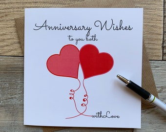 Anniversary Wishes to you both - Love Hearts design Anniversary Card - Posts Worldwide