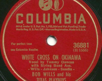 Bob Wills and His Texas Playboys - Empty Chair At The Christmas Table / White Cross On Okinawa - 78 RPM Record - VG Condition
