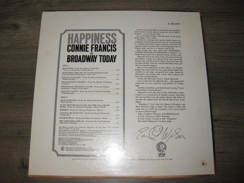 Happiness Connie Francis On Broadway Today - Vinyl 33 RPM Record - Still  Factory Sealed hole punch in left corner