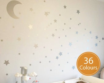 Silver Stars & Moon Nursery Wall Stickers