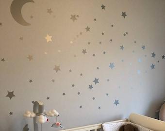 Silver Metallic Moon & Stars Nursery Wall Stickers