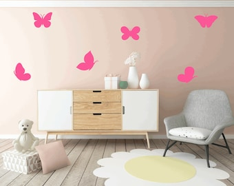 6 Large Butterfly Wall Stickers