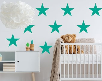 12 Large Star Nursery Wall Stickers