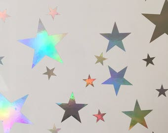 120 Ultra Rainbow Shine Stars Wall Stickers