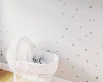120 Silver Stars Nursery Wall Decals