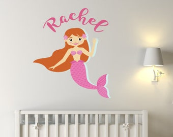 Pink Mermaid Custom Nursery Wall Sticker
