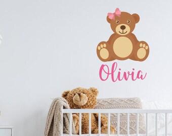 Custom Bear Name Wall Sticker