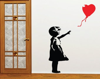 Banksy Wall Sticker - Heart Balloon Girl