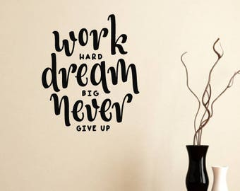 Work Hard Motivational Wall Sticker Quote