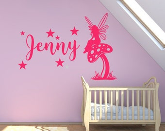 Custom Nursery Wall Sticker - Girls Name, Fairy On Mushroom With Stars