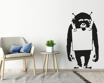 Banksy Wall Sticker Monkey With Notice Board