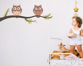 Owls In Branch Nursery/Children's Wall Sticker