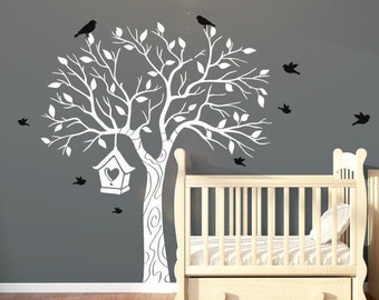 Large Nursery Tree Wall Decal With Flying Birds & Bird House - Tree Wall Art Decal/Stickers For Children, Unisex - Removeable Vinyl