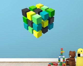3D Cube Wall Sticker