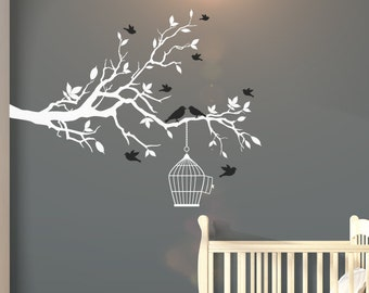 Large Nursery Tree Wall Decal With Flying Birds & Bird Cage - Tree Wall Art Decal/Stickers For Children Christmas Gift