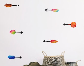6 Watercolour Arrow Wall Stickers