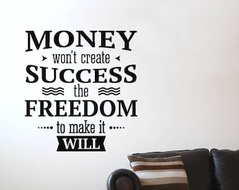 Money Motivational Wall Sticker Quote