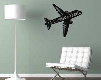 Let's Go Travel Plane Wall Sticker Quote
