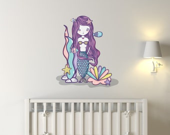 Colourful Mermaid Nursery Wall Sticker
