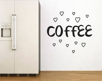 Coffee Wall Sticker With Love Hearts