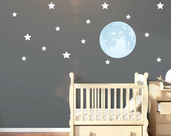 Large Moon and 15 Stars Wall Stickers