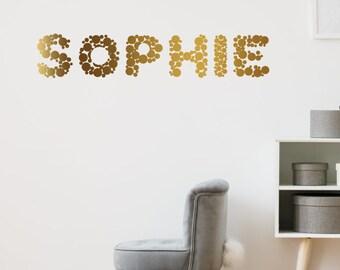 Custom Name Wall Sticker Gold Polka Dots