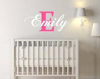 Custom Girls Name & Letter Nursery Wall Sticker