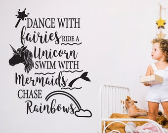 Fairies, Unicorns Nursery Wall Sticker Quote