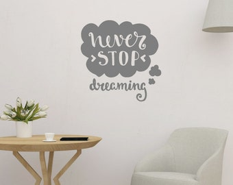 Never Stop Dreaming Positive Wall Quote