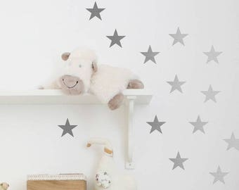 30 Large Silver Star Wall Stickers