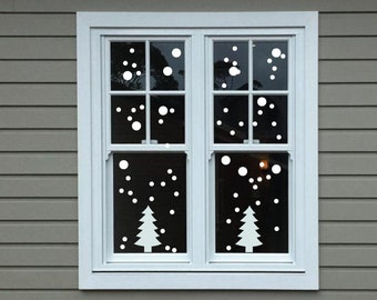 Christmas Tree & Snow Window Stickers