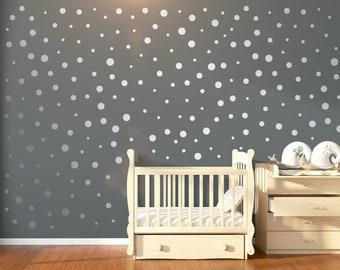100 Silver Nursery Polka Dot Wall Stickers