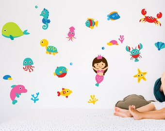 Mermaid & Sea Theme Wall Sticker Pack