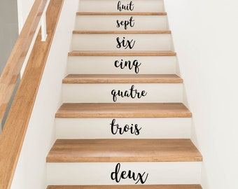 French Numbers 1-10 Stair Stickers
