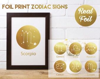 Real Foil Print Zodiac/Star Signs