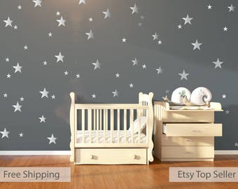 120 Silver Metallic Stars Nursery Wall Decals/Wall Stickers
