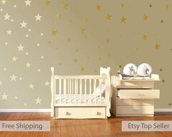 120 Gold Metallic Stars Nursery Wall Stickers