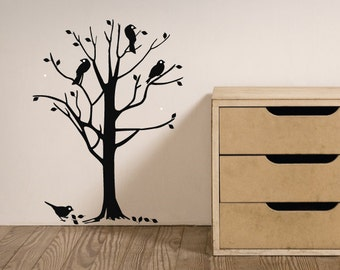 Birds In A Tree Large Nursery Wall Decal/Wall Art Sticker, Home Decor, Childrens Christmas Gift