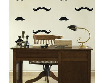 40 Mixed Mustache Wall Stickers Decals - Vinyl Wall Art Decoration Design For Home Decor UK. Mural, Wallpaper, Gift, Animal, Office, Gift