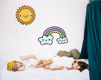 Rainbow And Sun Nursery Wall Stickers
