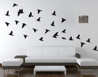 Flock Of Flying Birds Wall Decals/Wall Art Stickers - Vinyl , Bedroom, Home Decor, Childrens, Murals, Wallpaper Christmas Gift