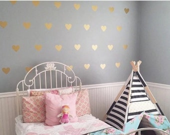100 Gold Metallic Hearts Wall Stickers