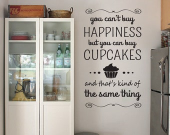 Happiness Cupcake Wall Art Sticker Quote, Vinyl Design For Home Decor Christmas Gift