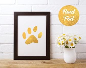 Gold Foil Print - Dog Paw