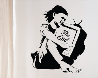 Banksy Wall Decal/Vinyl Wall Sticker - The End TV Girl